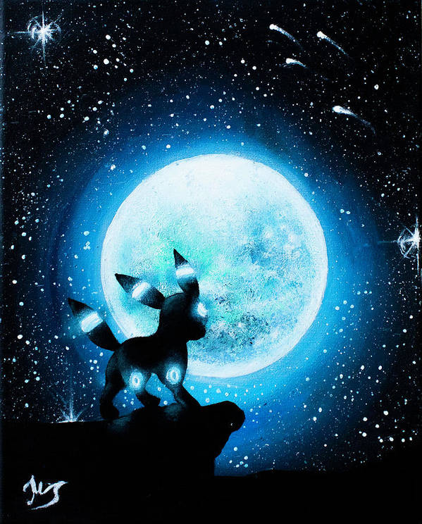 Shiny Umbreon Under The Moon Painting Poster By Magda Swinya