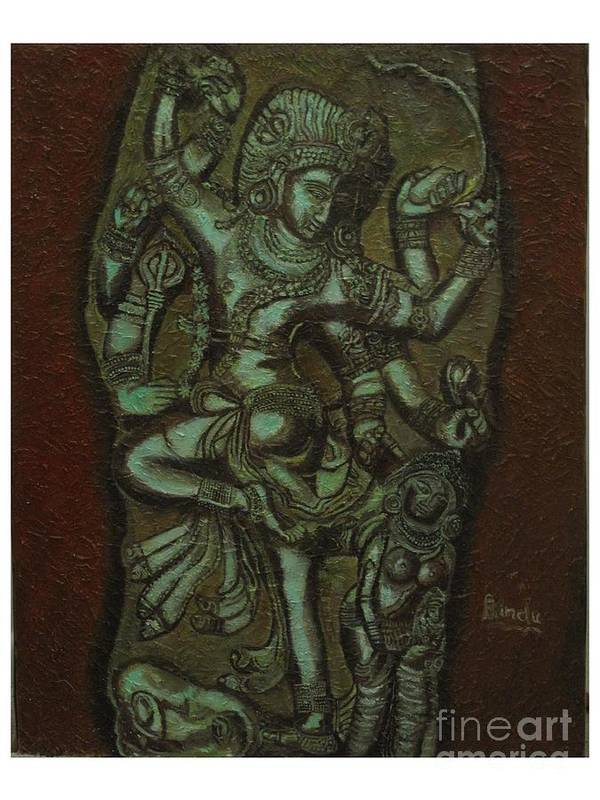 Shiva Poster featuring the painting Shiva by Bindu Bajaj