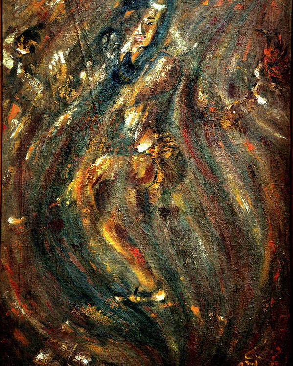 Shiv Poster featuring the painting Shiva Eternal Dance - Vintage by Harsh Malik