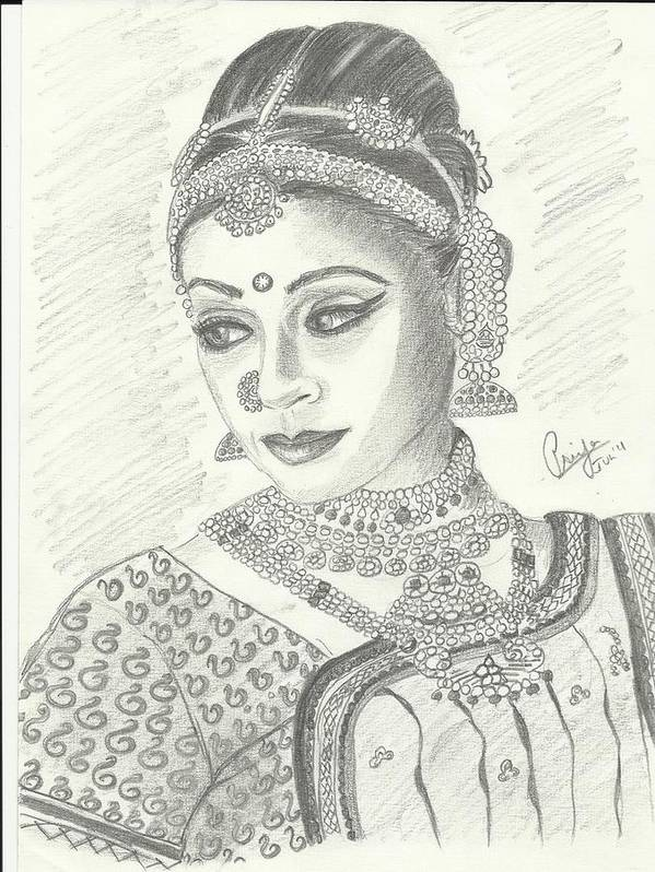 Celebrity Poster featuring the drawing Shobana Chandrakumar-bharatanatyam Dancer by Priya Paul