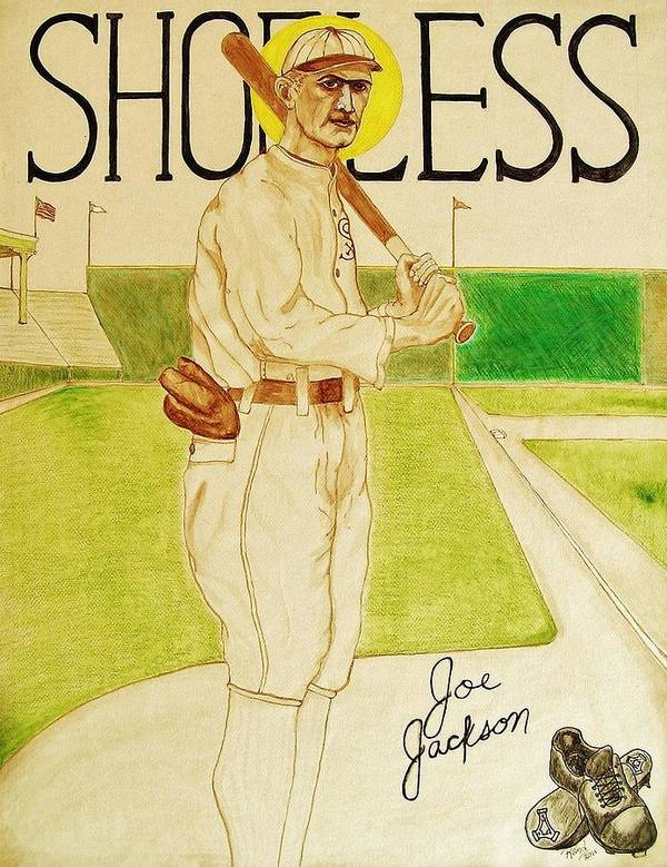 Shoeless Poster featuring the painting Shoeless Joe Jackson by Rand Swift