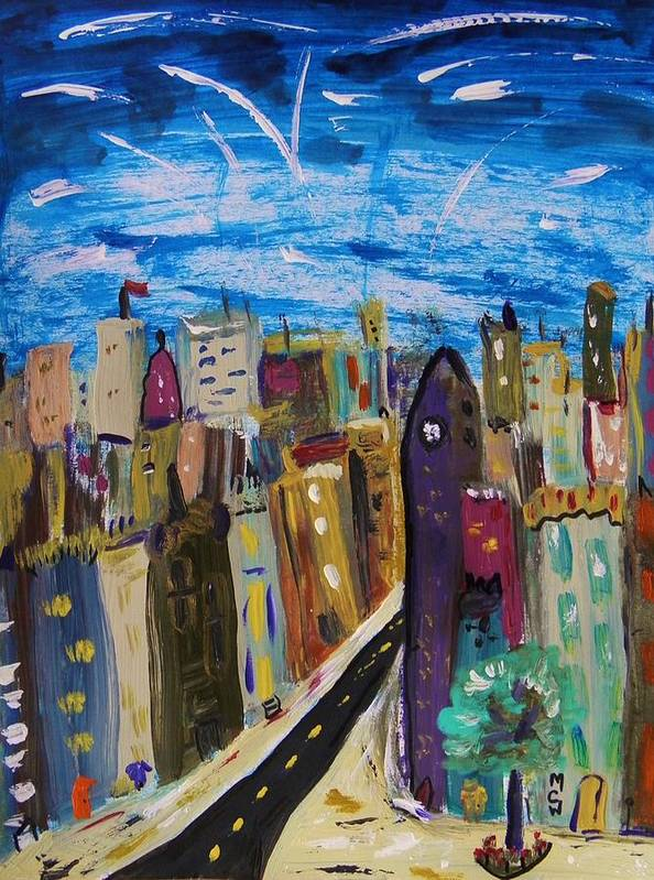 Acrylic Poster featuring the painting Shooting Stars Over Old City by Mary Carol Williams