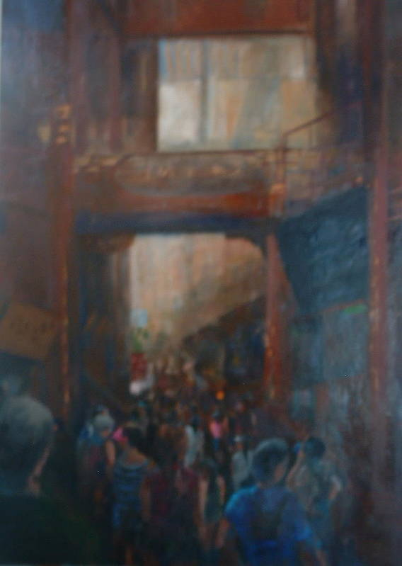 Figureative Poster featuring the painting Shopping In Shanghai by Bryan Alexander