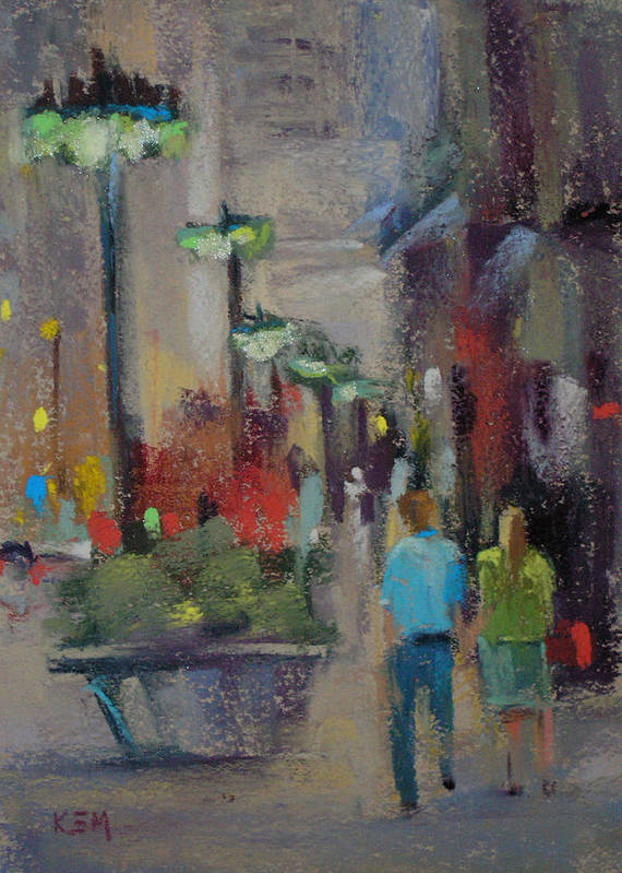 Cityscpe Poster featuring the painting Shopping On The Mag Mile by Karen Margulis