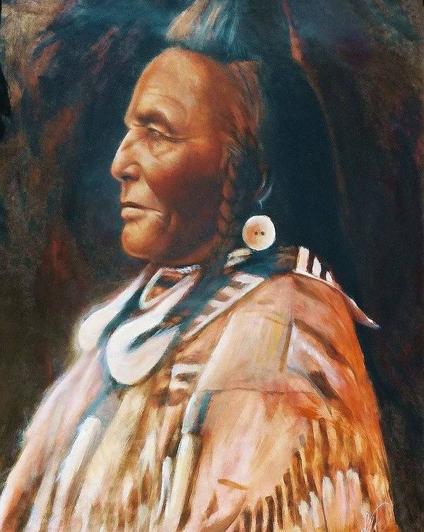 Native American Poster featuring the painting Shot In The Hand by Elizabeth Silk
