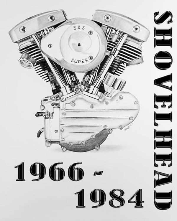 Shovelhead Harley Engine II Poster
