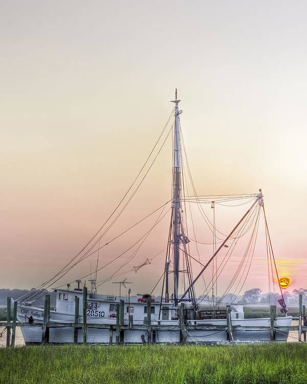 Marsh Poster featuring the photograph Shrimp Boat Sunset by Drew Castelhano