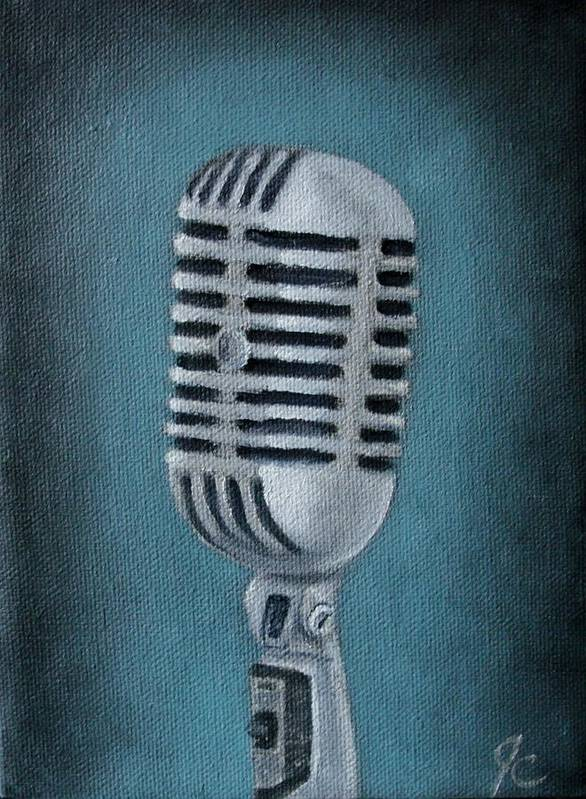 Shure Microphone Vintage Microphone Retro Microphone Old Microphone Art Deco Rock N Roll Blues Musical Instruments Music Audio Equipment Sound Vocals Singer Recording Home Decor Art Poster featuring the painting Shure Thing by Jimmy Carender