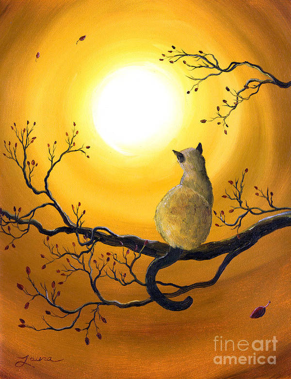 Zen Poster featuring the painting Siamese Cat In Autumn Glow by Laura Iverson