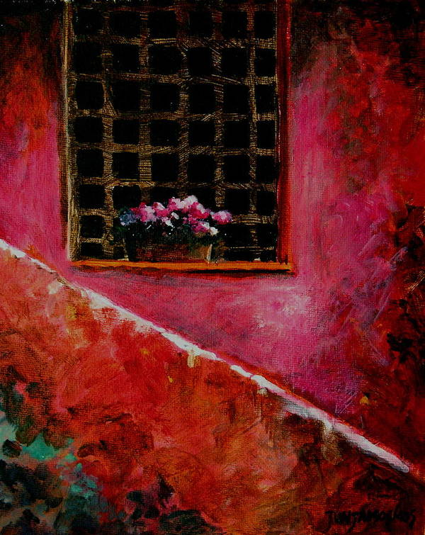 Window Poster featuring the painting Sicilian Window by Jun Jamosmos
