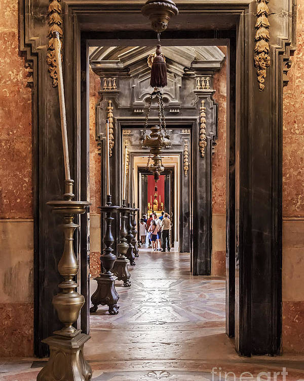 Corridor Poster featuring the photograph Side Aisle Of The Basilica Of The Mafra by Jose Elias - Sofia Pereira