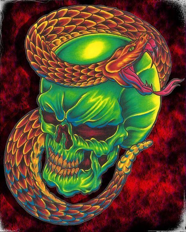 Skull Poster featuring the digital art Sidewinder by Raymond Smith