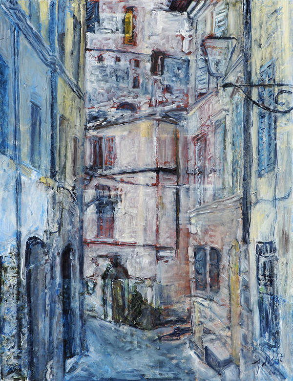 City Italy Street Buildings Blue Red Siena Poster featuring the painting SienaWalls by Joan De Bot