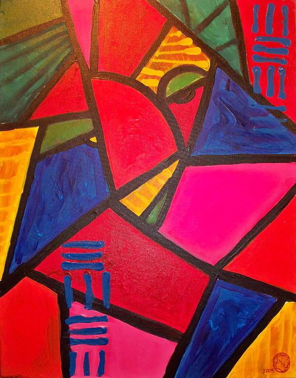 Absract Poster featuring the painting Sifuri by Malik Seneferu