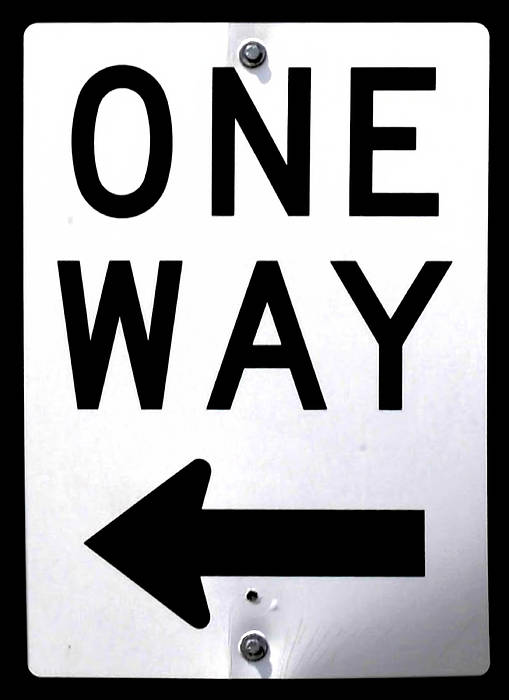 Sign Poster featuring the photograph Sign-one-way by Michael Flood