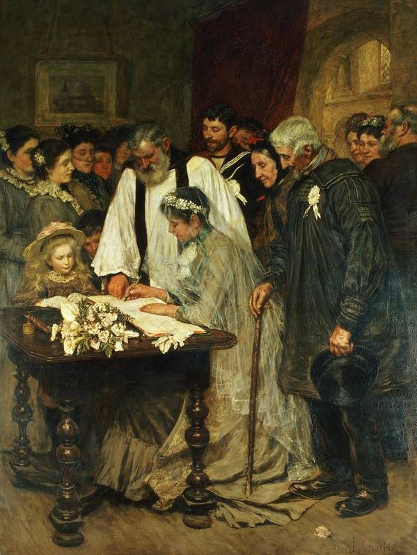 Signing Poster featuring the painting Signing The Marriage Register by James Charles