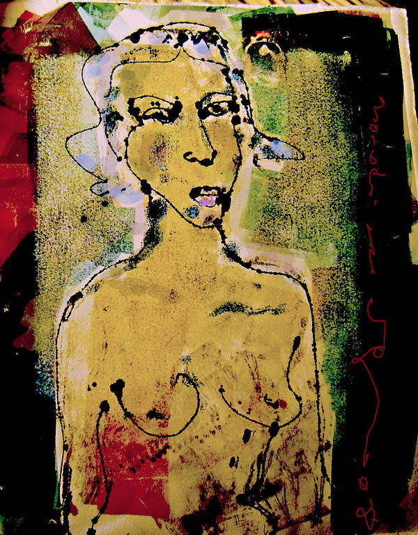 Female Poster featuring the painting Silent Abuse by Noredin Morgan