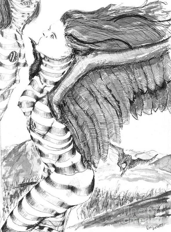 Surreal Poster featuring the drawing Silent Flight by Ron Bissett