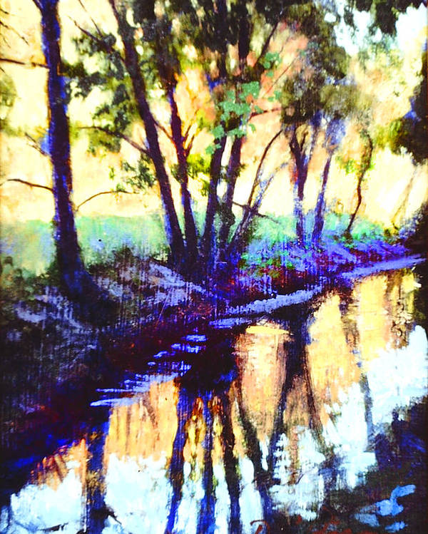 Summer Stream Poster featuring the painting Silhouettes by David Zimmerman