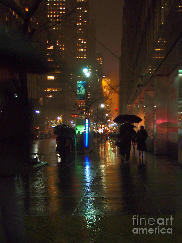 Rain Poster featuring the photograph Silhouettes In The Rain - Umbrellas On 42nd by Miriam Danar