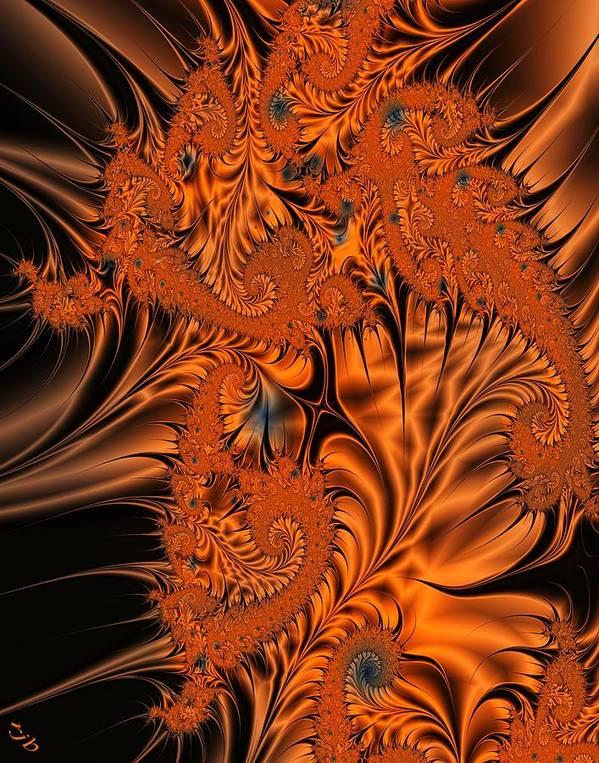 Silk Poster featuring the digital art Silk in Orange by Ron Bissett