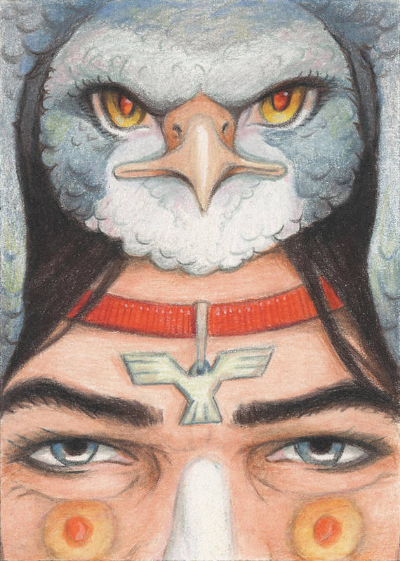 Atc Poster featuring the drawing Silver Hawk Warrior by Amy S Turner