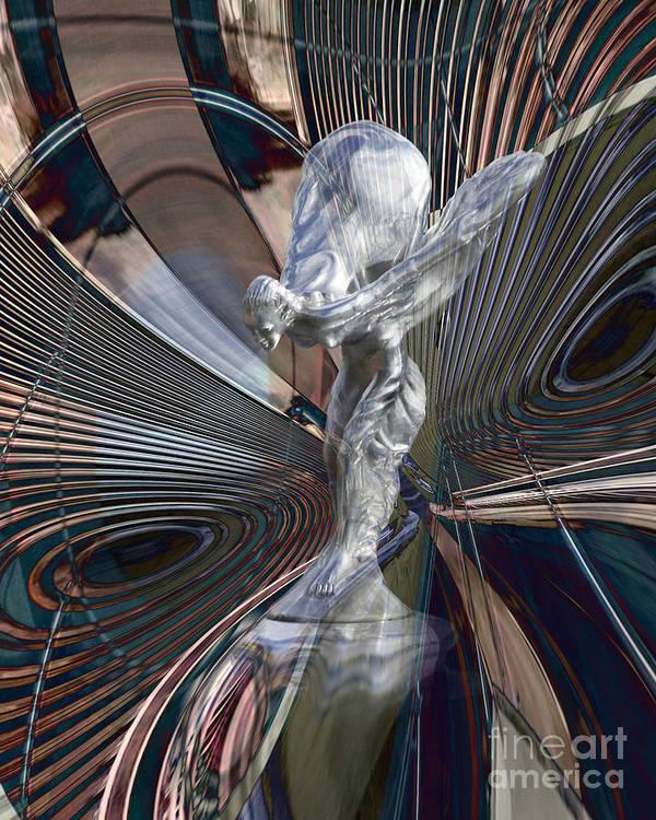 Car Poster featuring the digital art Silver Shadow by Chuck Brittenham