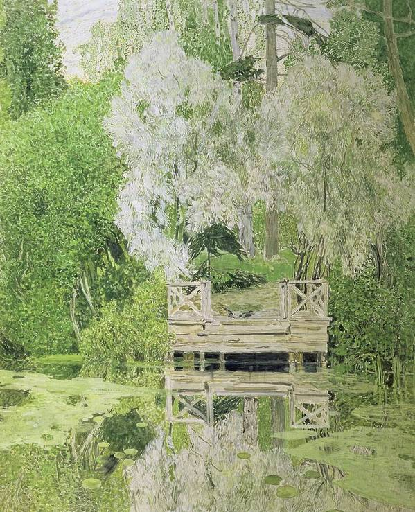 Silver Poster featuring the painting Silver White Willow by Aleksandr Jakovlevic Golovin