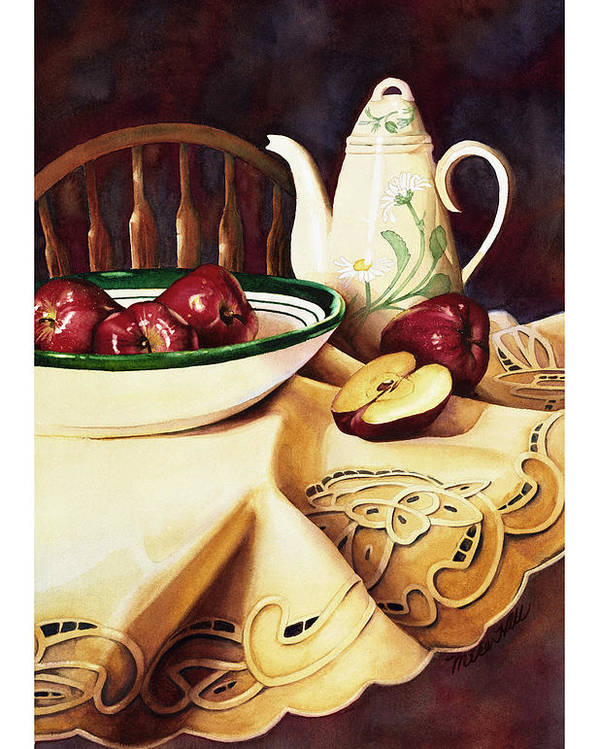 Apples Delicious Red Fruit Pitcher Tablecloth Still Life Cut Porcelain Daisy Pattern Poster featuring the painting Simply Delicious by Mike Hill