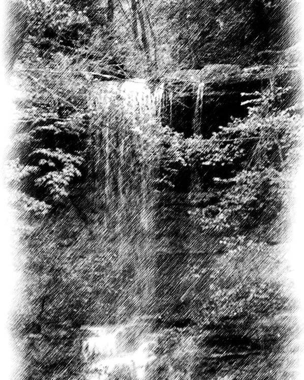 Digital Photograph Poster featuring the photograph Simulated Pencil Drawing Tinker Falls. by David Lane
