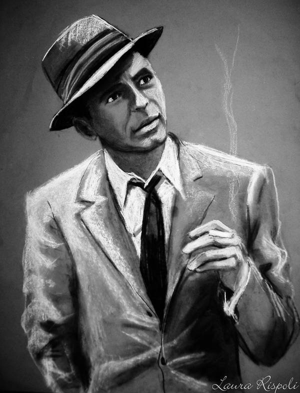 Frank Sinatra Poster featuring the drawing Sinatra by Laura Rispoli