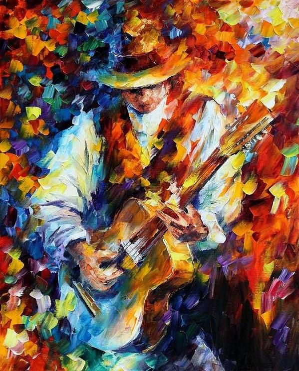 Afremov Poster featuring the painting Sing My Guitar by Leonid Afremov