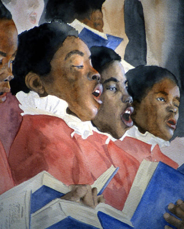 Choir Poster featuring the painting Sing Out Your Joy by Jean Blackmer