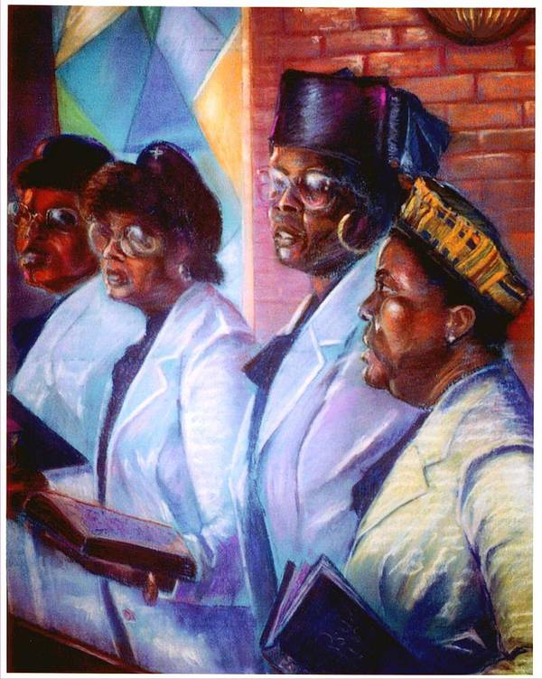 Church Poster featuring the pastel Singin His Praises by Tommy Winn