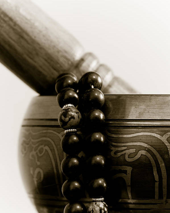 Buddhist Poster featuring the photograph Singing Bowl And Mala by Edward Myers