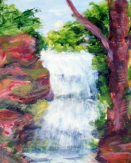 Falling Water Poster featuring the painting Singing Water by Lia Marsman