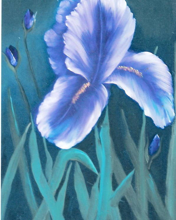 Nature Poster featuring the painting Single Iris With Buds by Felix Turner
