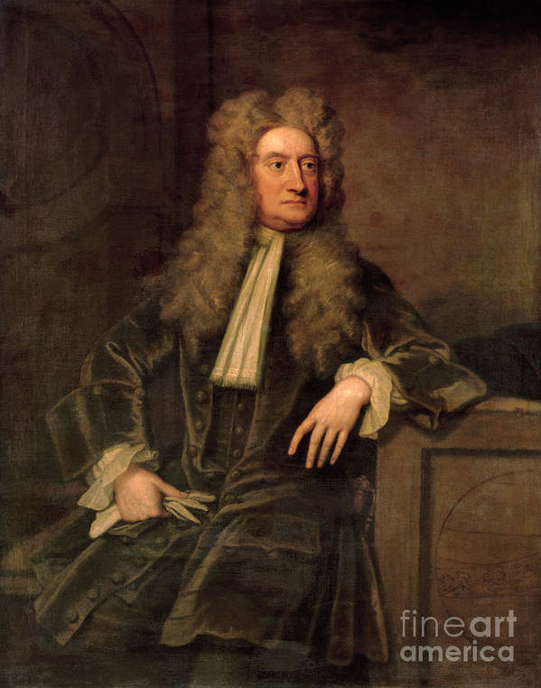 Sir Poster featuring the painting Sir Isaac Newton by Sir Godfrey Kneller