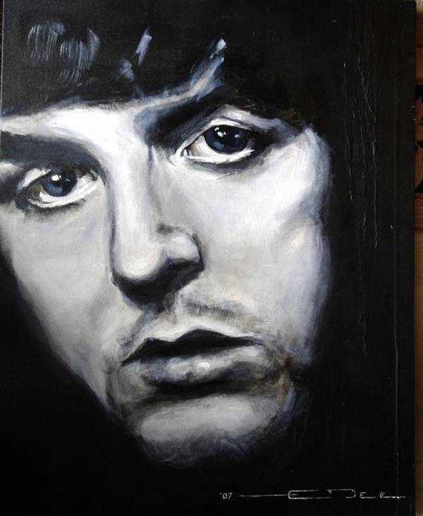 Celebrity Portrait Paul Mccartney During The Beatles Era. Poster featuring the painting Sir Paul Mccartney by Eric Dee