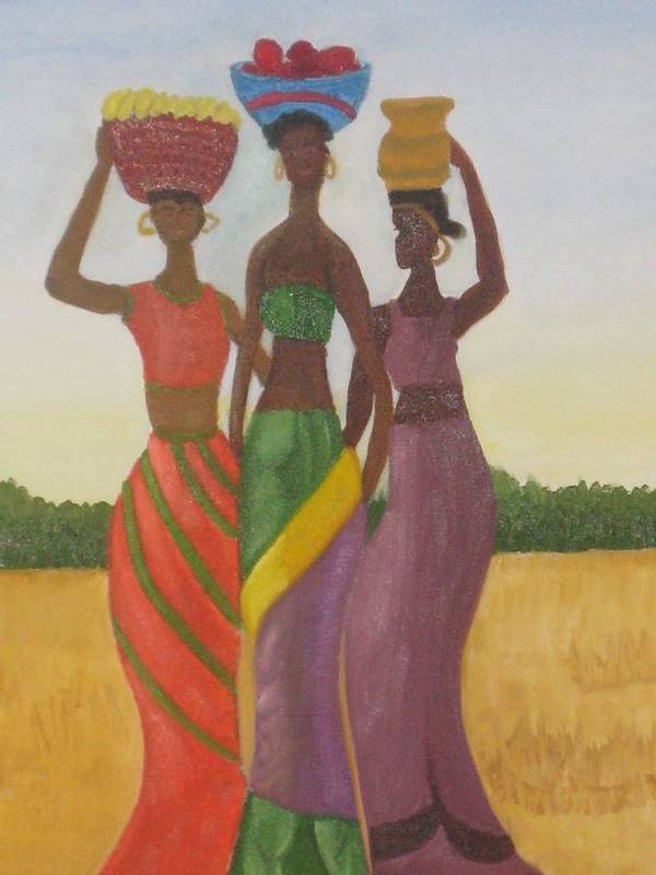 Women Poster featuring the painting Sisters by AVK Arts