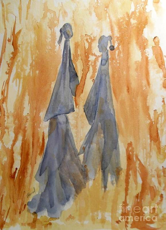 Watercolor Poster featuring the painting Sisters by Vicki Housel