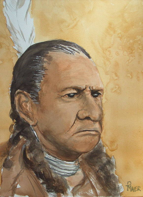 American Indian Poster featuring the painting Sitting Bull by Pete Maier