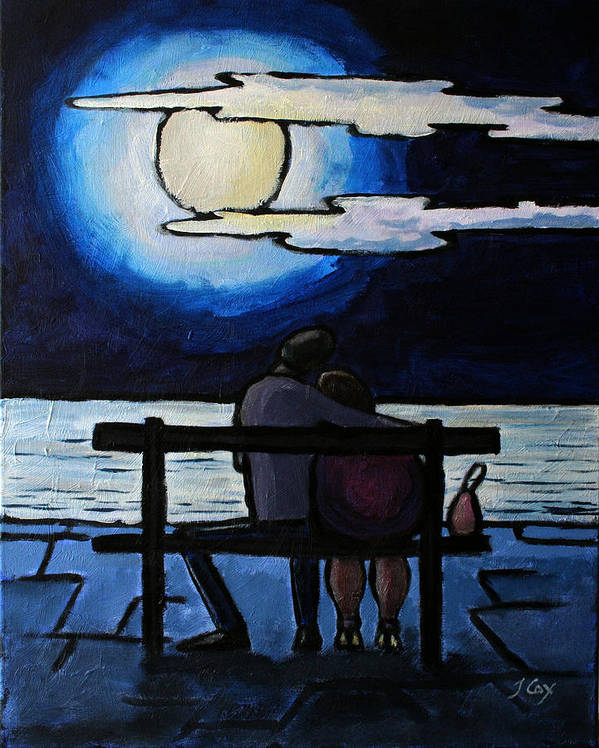 Figure. Moonlight. Evening. Couple. Seascape. Poster featuring the painting Sitting In The Moonlight. by John Cox
