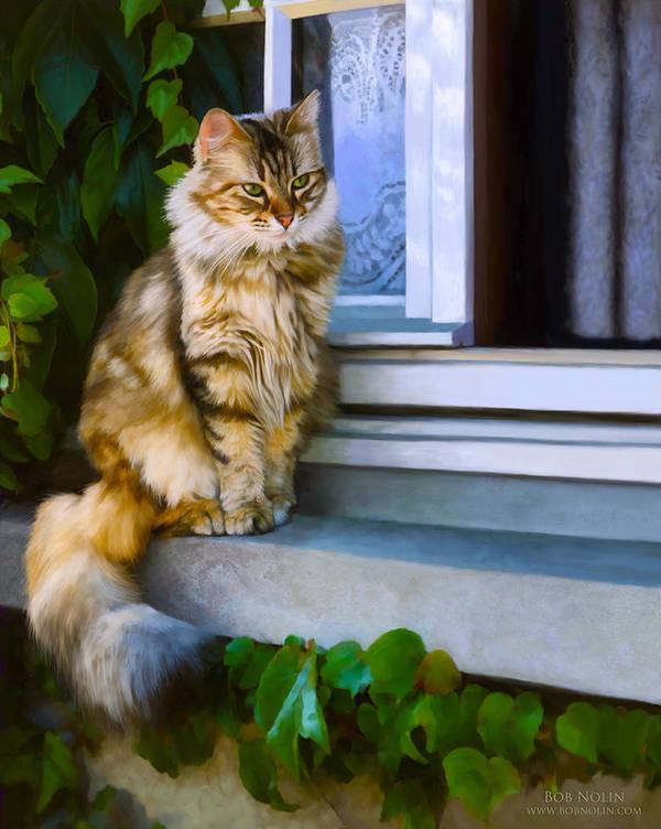 Cat Poster featuring the digital art Sitting Pretty by Bob Nolin