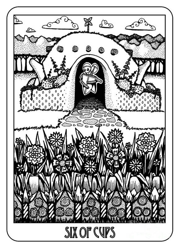 Six Of Cups Poster featuring the drawing Six Of Cups by Jaeme Case
