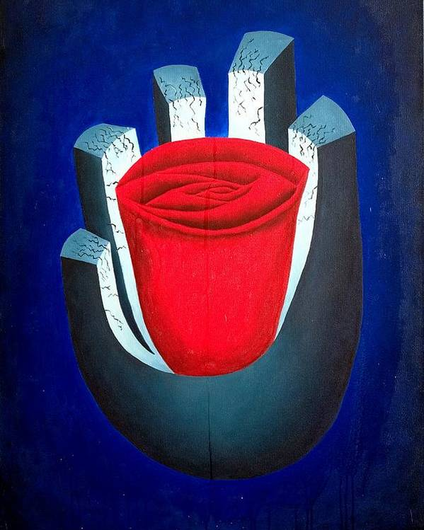 Rose Poster featuring the painting six by Poul Costinsky