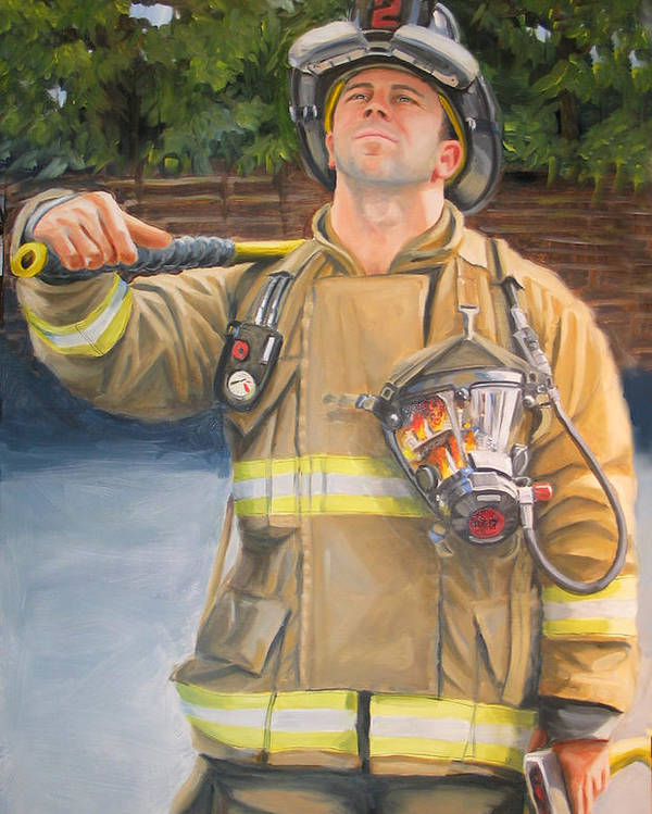 Firefighting Poster featuring the painting Sizing Up by Paul Walsh