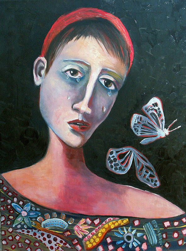 Butterfly Girl Red Sad Crying Pinks Reds Blues Poster featuring the painting Skeleton Butterfly by Niki Sands