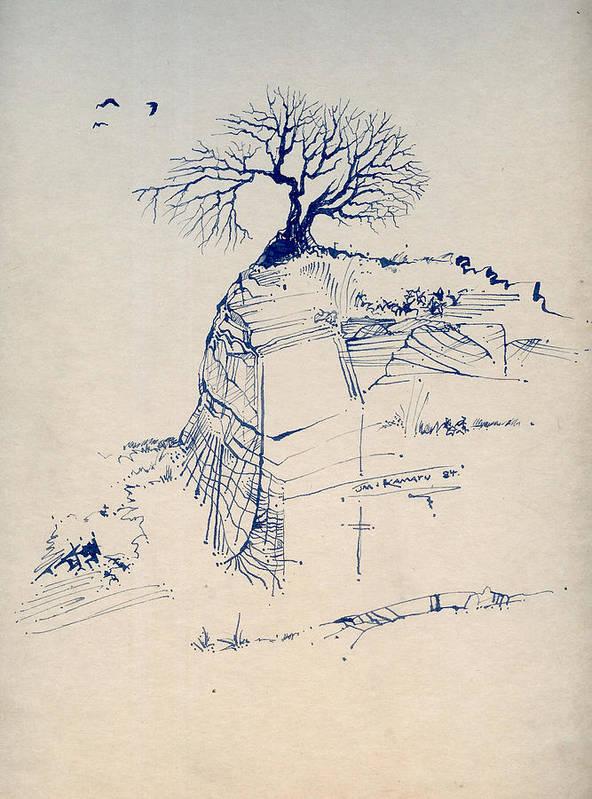 Joan Kamaru Poster featuring the drawing Sketch 7 by Joan Kamaru