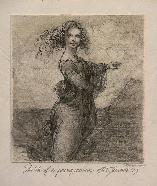 Classic Drawing Poster featuring the painting Sketch Of A Young Woman After Leonardo by Gary Kaemmer